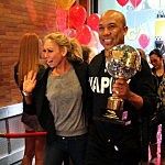Hines Ward with dancing with the stars trophy