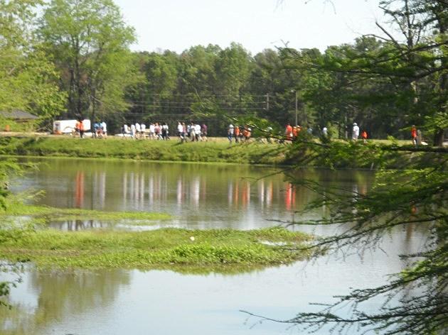Walkers circle Bobby Ferguson Park during Walk MS Texarkana 2012