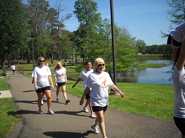 Team Cooter approaches the finish line at Walk MS Texarkana 2012