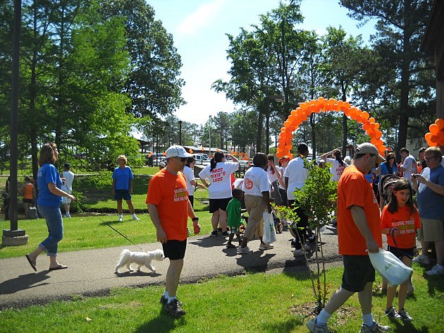 Walkers celebrate at the finish line at Walk MS Texarkana 2012