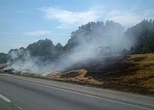 Hay trailer fire