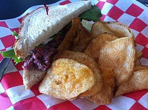 Julie's Deli Longhorn Sandwich with House Fried Chips