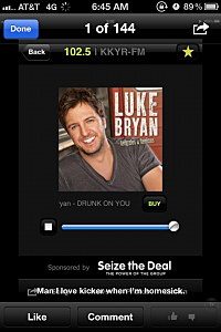 Luke Bryan KKYR listner screen shot