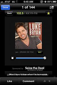 Luke Bryan KKYR listner screen shot