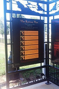 A panel at the Veterans Memorial Park in Fouke, Ark.