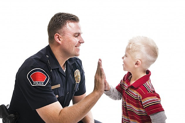 Police high five