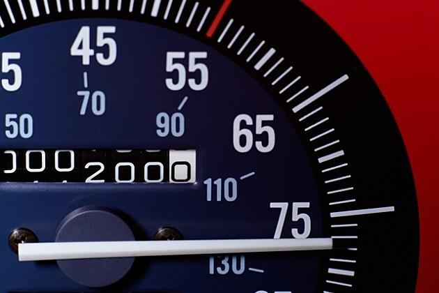 Speedometer at 75mph
