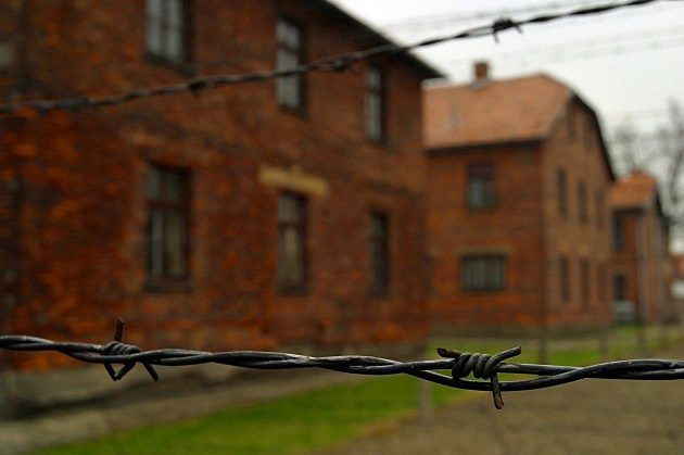 The electric fence at Auschwitz concentration camp, Oswiecim, Poland.