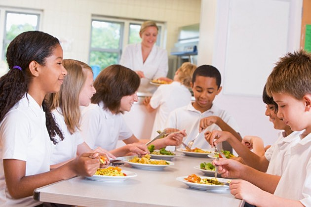 School Children Eating Lunch While Inexplicably Wearing White