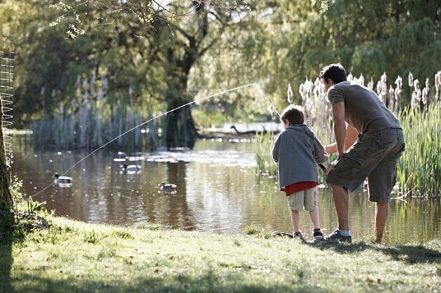 Father and son fishing in a pond