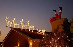 Santa stuck in chimney decoration