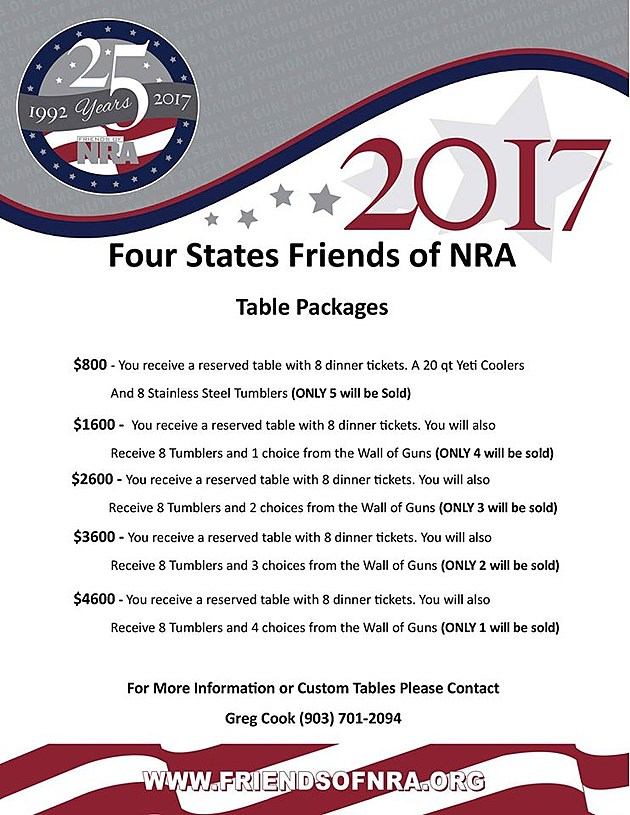 Friends of NRA - Table Packages