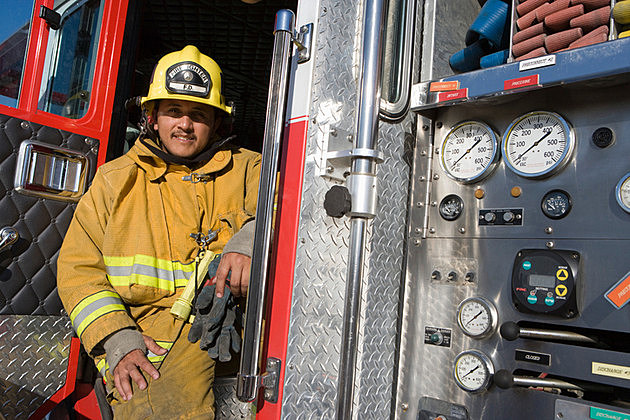 Firefighter in truck